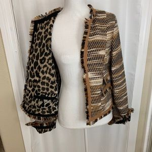 Womens Reversible Leopard Print Blazer Brown - Med